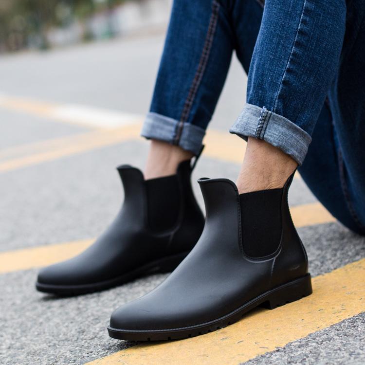 男士雨鞋低帮时尚款春季保暖切尔西雨靴男胶鞋低帮水鞋男士防滑