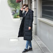 新冬装男士长款大码羽绒服长过膝加长加厚修身迷彩保暖户外大衣潮