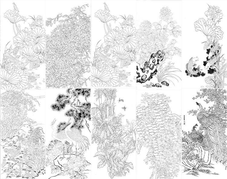 高清工笔画白描底稿四尺花鸟10套花卉牡丹国画花鸟画临摹练习线稿