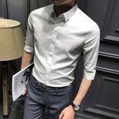 夏季男士五分袖衬衫韩版修身中袖寸衫时尚纯色休闲短袖衬衣暗扣潮