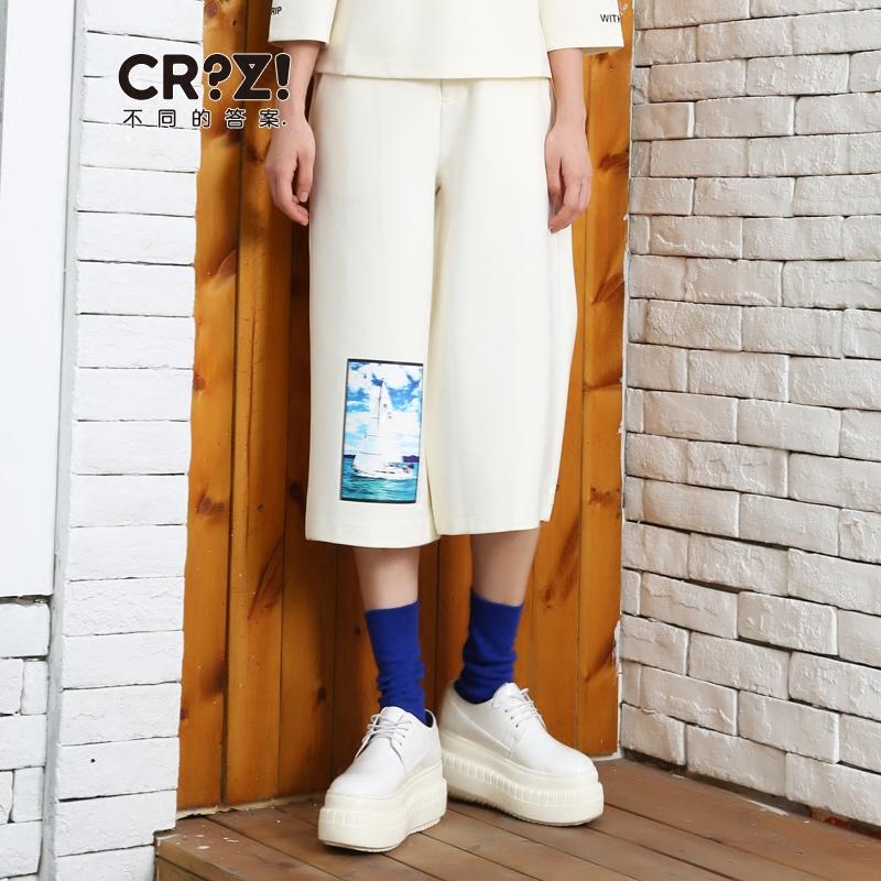 CRZ潮牌女装2017秋季设计师独立新款 个性印花休闲女七分裤 潮