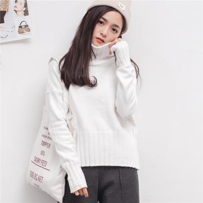 韩国短款高领毛衣女套头宽松纯色长袖加厚打底针织衫秋冬女装百搭