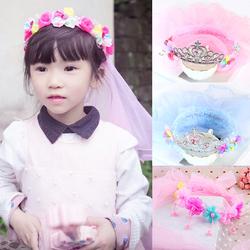 公主头纱韩国儿童头饰可爱披纱皇冠王冠小女孩发饰品发箍女童花环