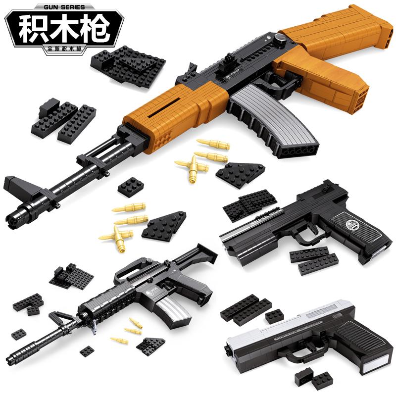 兼容乐高积木**拼装武器儿童组装男孩子军事6拼插7益智玩具10岁12