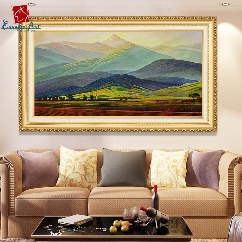 手绘油画欧式山水画风景画巨人山手工客厅卧室装饰画