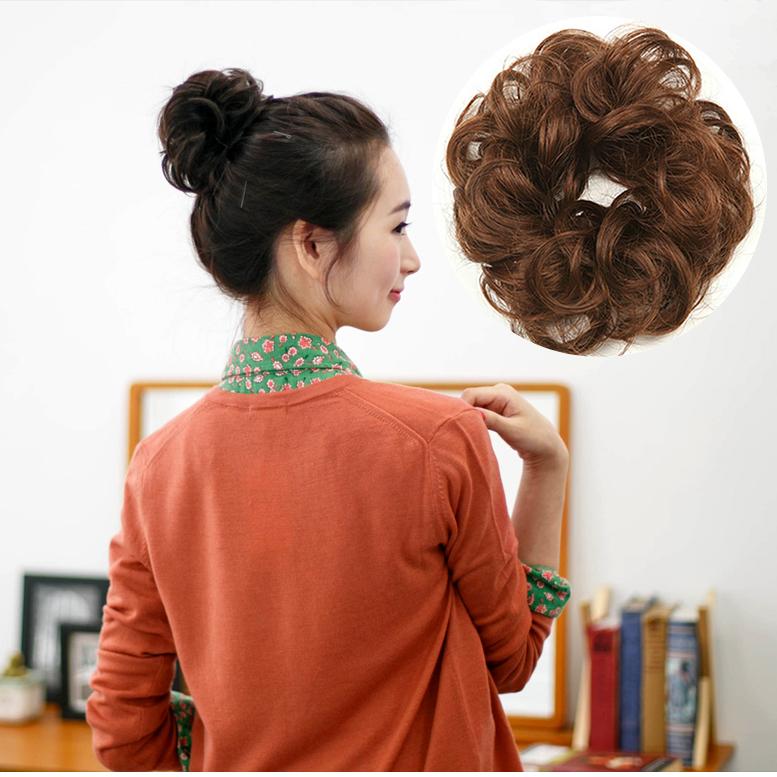 假发发圈 发包女头花发圈小丸子花苞头真发发苞蓬松盘发短卷