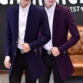 春季青年小西服男中长款风衣韩版修身西装外套帅气英伦男装上衣潮