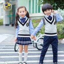幼儿园园服春秋套装英伦学院风校服儿童背心秋冬套装中小学生班服