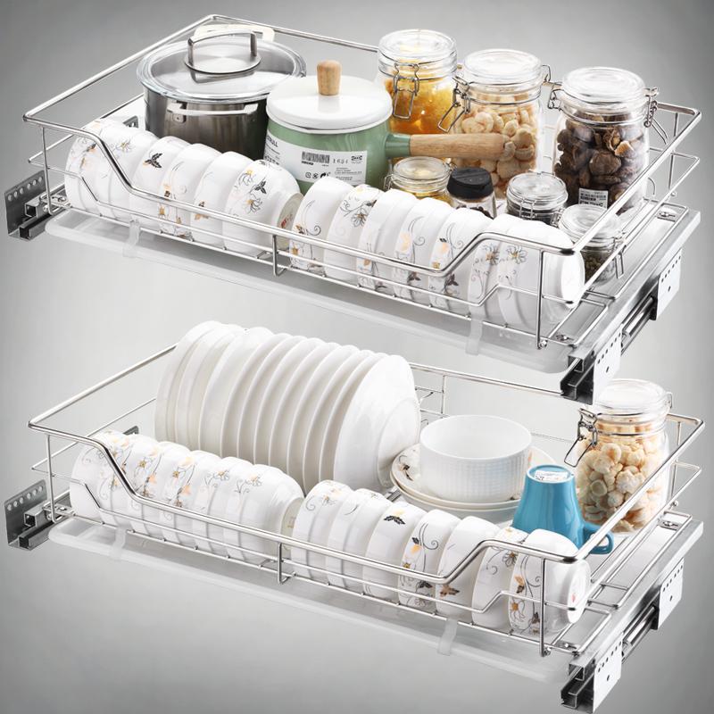 不锈钢碗篮厨柜碗碟篮双层碗架沥水架抽屉式收纳 304 拉篮厨房橱柜