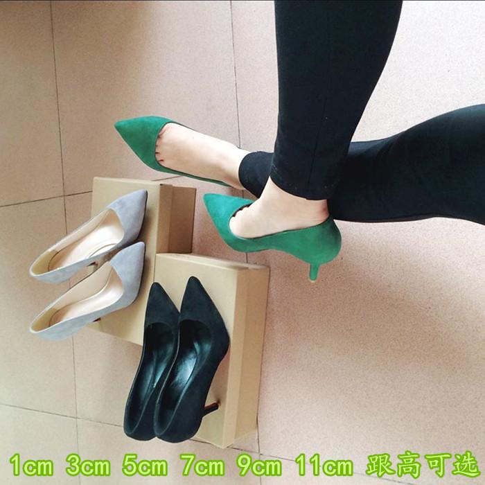 根尖高跟鞋绿色单鞋头大码 韩版瓢鞋女春中跟