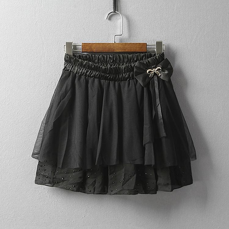 夏季新款女装纯色松紧腰蝴蝶结装饰网纱钉珠半身裙I22-1372.