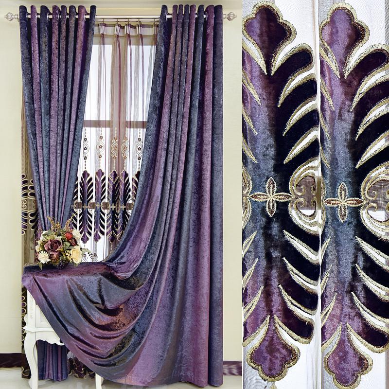 定制隔音客厅卧室欧式绣花进口韩国绒全遮光窗帘成品