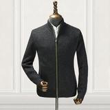 秋季新款羊毛衫男混纺针织衫男装立领开衫中青年男毛衣薄外套