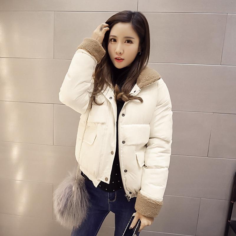 羊羔毛领棉衣女韩版短款学生bf宽松可爱冬季棉服外套加厚面包服