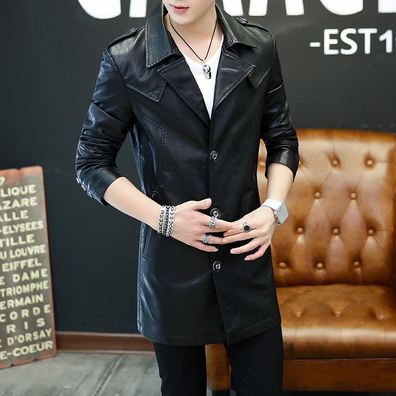 皮衣男中长款秋冬季青年PU薄款皮夹克机车修身韩版帅气风衣外套潮