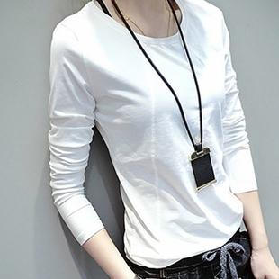 天天特价春秋装圆领体恤长袖纯棉白色T恤学生打底衫修身上衣女装