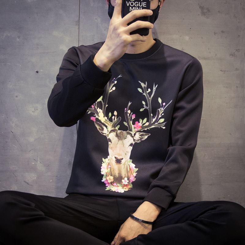男士长袖T恤3D印花体恤青少年韩版修身打底衫秋季上衣新款潮9.9元