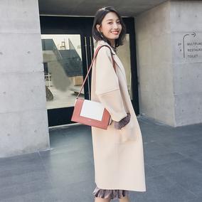 2017秋冬新款韩版中长款毛呢外套女呢子大衣加厚显瘦米白色呢外套