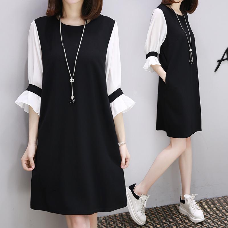 字裙女连衣裙七分袖拼接长款显瘦雪纺休闲欧洲夏装