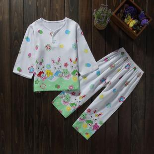 夏季儿童睡衣长袖绵绸套装薄款男童女童装半袖宝宝棉绸短袖家居服