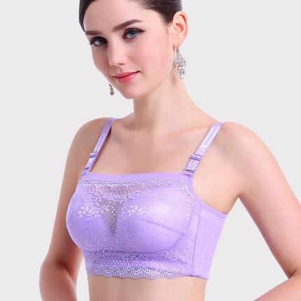无钢圈文胸聚拢防走光抹胸式女文胸蕾丝内衣收副乳小胸