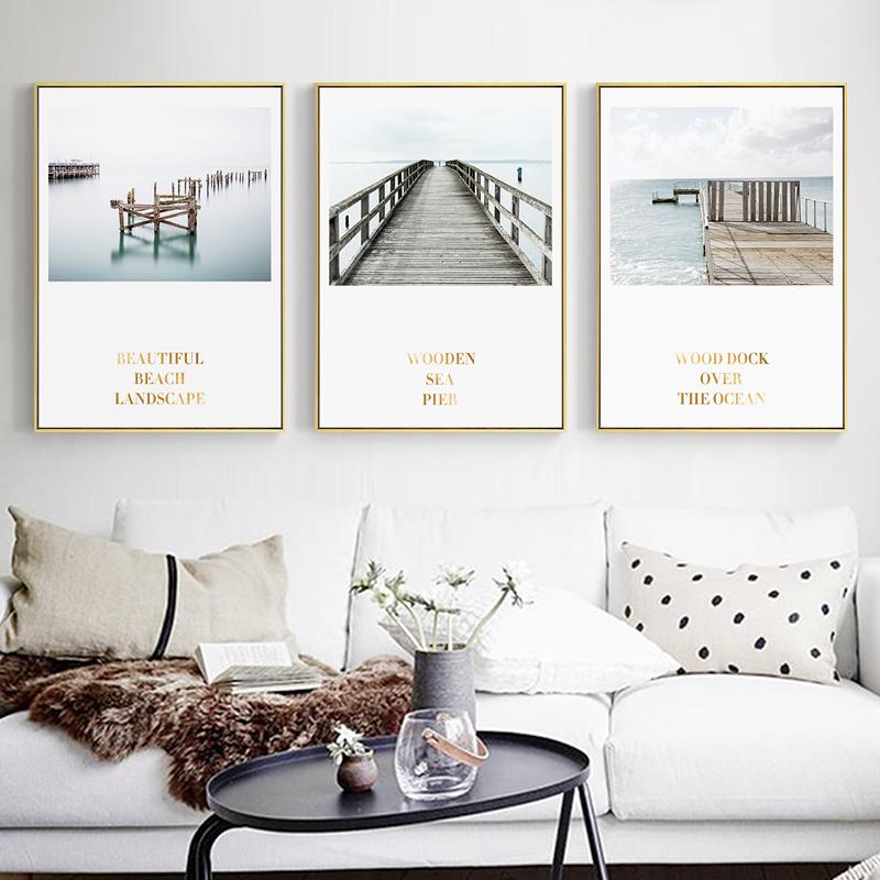 彼岸 北欧风格装饰画客厅沙发背景墙挂画自然风景壁画海洋墙画