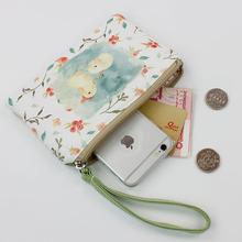 可爱钱包帆布女布艺拉链韩国手拿包简约迷你硬币学生手机袋零钱包