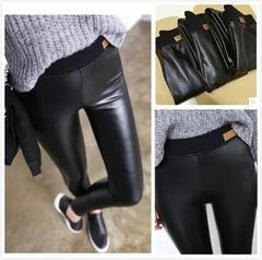 冬季高腰加绒加厚PU皮裤小猫定标外穿显瘦保暖仿皮打底裤女装长裤