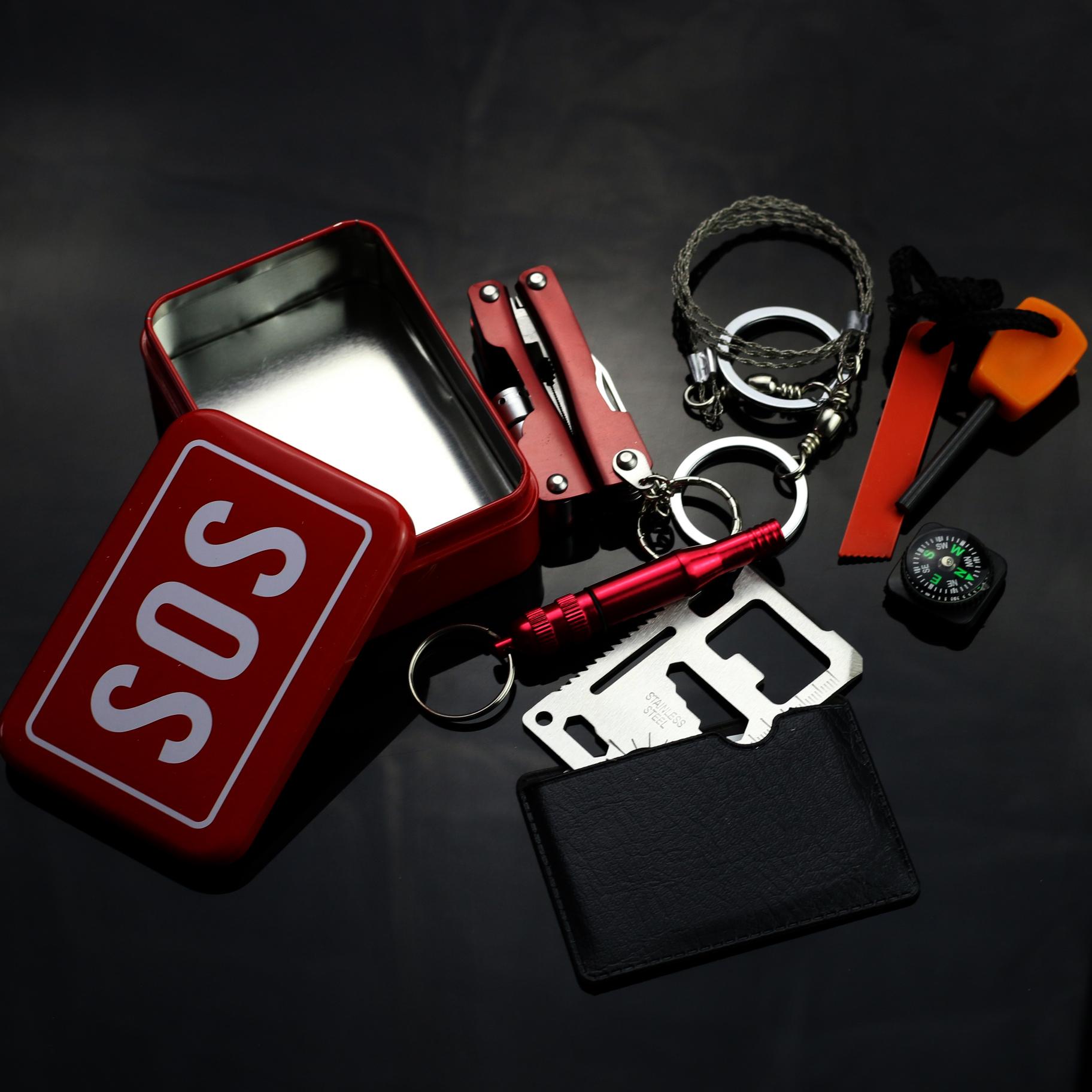 野外生存装备_sos急救盒野外生存工具多功能组合套装应急求生装备户外应急工具