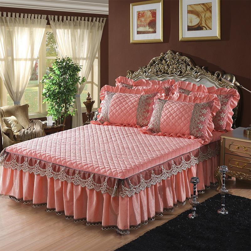 保暖法莱绒床罩2m冬天加厚珊瑚绒夹棉床裙单件床笠床盖床垫套欧式