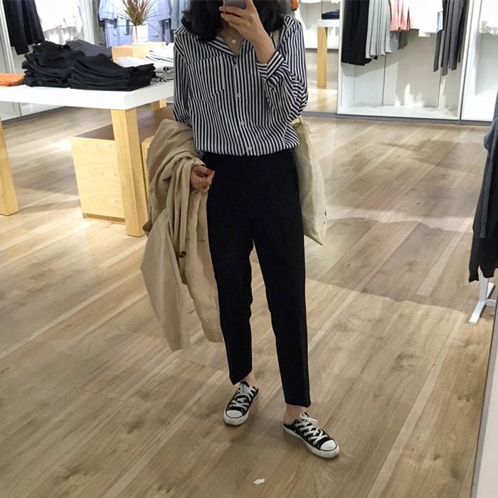 女装夏装正装2017新款潮韩版学生显瘦版型超级好的黑色烟管西装裤