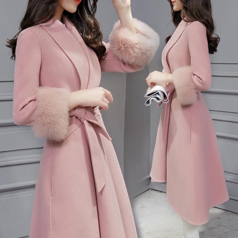 修身大衣呢子加厚女中外套毛呢学生清仓长款春秋
