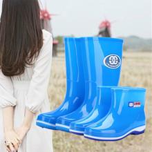 套绒棉防滑胶水鞋 女式中筒雨靴四季大方成人高筒胶鞋 雨盾短筒雨鞋