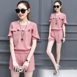 蘑菇街女装夏季时尚套装女短装上衣服短裤夏天学生一套搭配全整套
