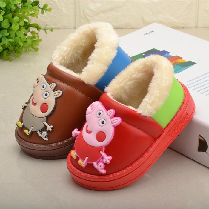小猪佩琪小孩棉鞋男童女宝宝皮面防水防滑毛绒保暖儿童冬天棉鞋子