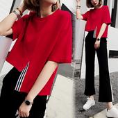 红色时尚阔腿裤套装女2017夏季新款欧货喇叭裤休闲运动套装两件套