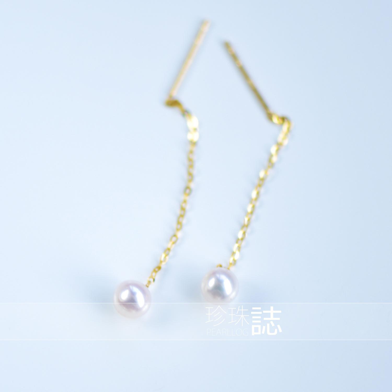 送女友礼物 精致耳环 18K3cm 海水珍珠耳线 Akoya 日本进口 窈窕