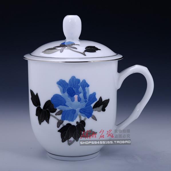 醴陵红官窑瓷器釉下五彩茶杯大号办公室杯子 陶瓷带盖 老板杯 薄