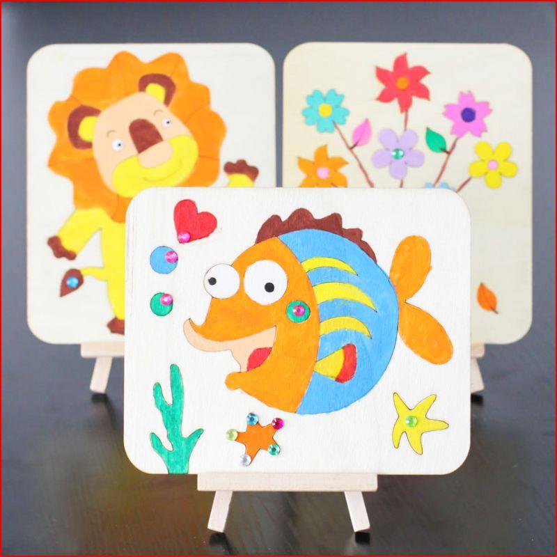 儿童绘画木板画diy涂鸦画板材料包 幼儿园创意画画美术制作材料