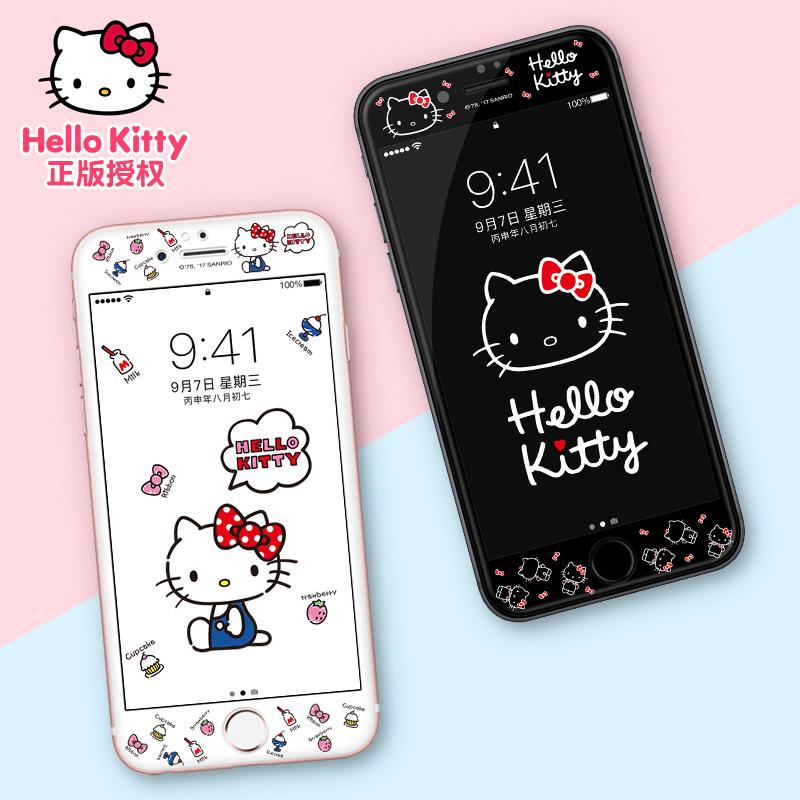 hellokitty iphone7plus钢化膜苹果7手机贴膜卡通可爱全屏彩膜黑