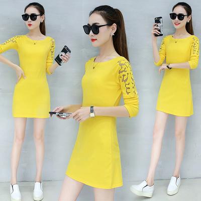 连衣裙长袖女装秋季2017韩版新款修身大码显瘦中长款包臀打底裙潮