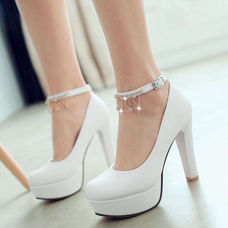 甜美圆头女鞋子时尚防水台超高跟鞋粗跟欧美性感水钻扣带春季单鞋
