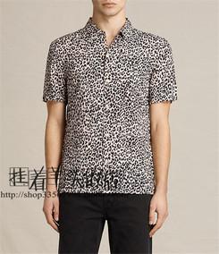 官网在售!all saints 17SS 男Reserve SS Shirt豹纹印花短袖衬衫