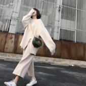 2017秋装新款韩版高腰针织阔腿裤女宽松港味九分裤ulzzang休闲裤