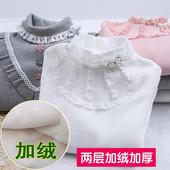 加厚儿童加绒中大童长袖 T恤纯棉中高领秋冬 女童打底衫