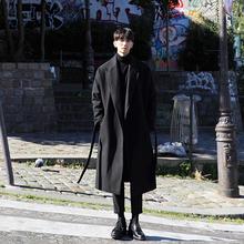 宽松呢外套毛呢子韩版 加厚保暖呢大衣男潮男士 日系风衣男长款