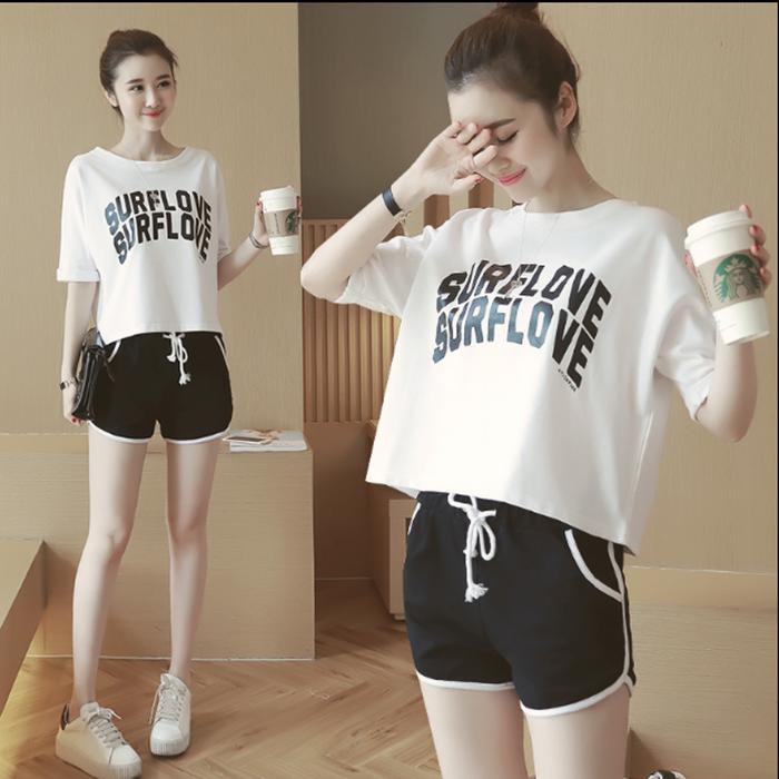 夏季短袖宽松两件套休闲跑步女装学生套装字母短裤运动服
