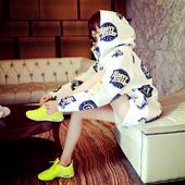 吉大大2017个性原宿风长袖卡通卫衣套装女印花连帽休闲运动套装潮