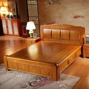 高档加厚实木床1.8米 1.5抽屉橡胶橡木床 实木家具床高箱储物婚床