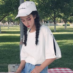 夏装女装韩版原宿风宽松短袖T恤个性圆环情侣中袖上衣学生体恤潮